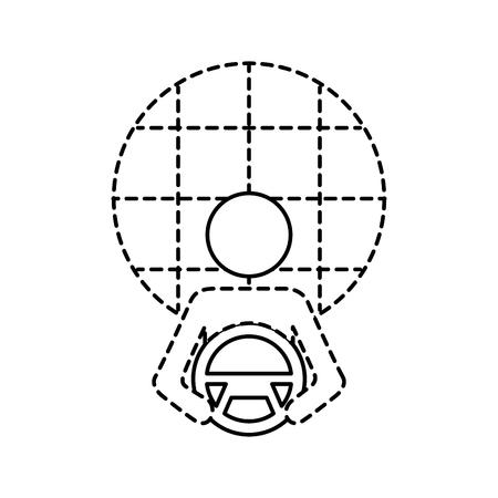 driver at steering wheel autonomous design vector illustration Ilustracja