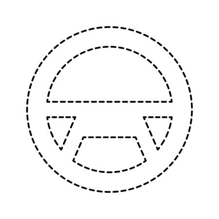 steering wheel car equipment web button vector illustration Illustration