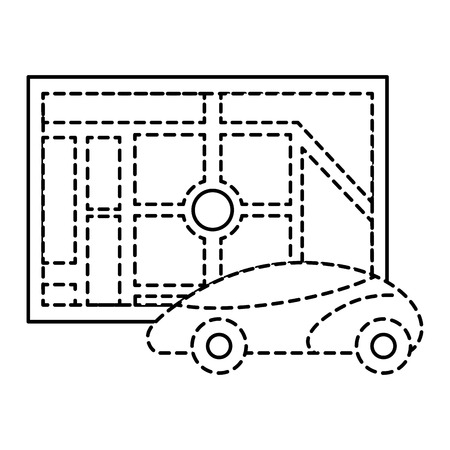 map navigation car autonomous web application vector illustration 向量圖像