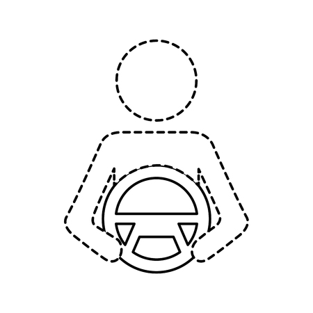 driver at steering wheel autonomous design vector illustration Illustration
