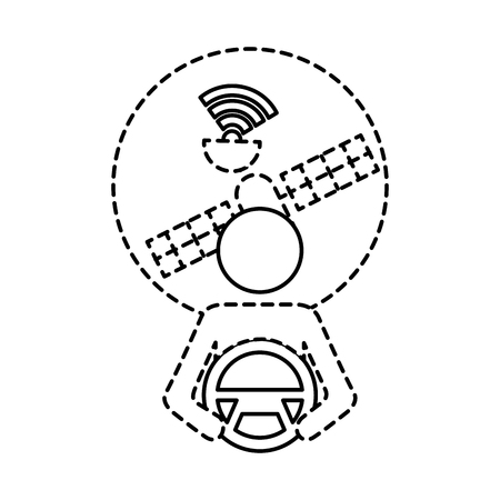 driver at steering wheel autonomous satellite gps vector illustration