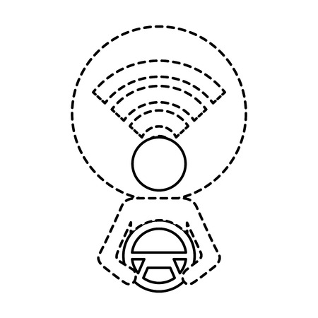 driver at steering wheel signal autonomous design vector illustration 向量圖像