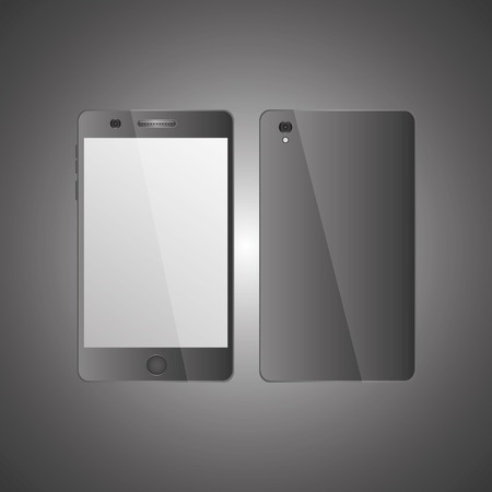 mobile phone front view and back side with shadows on gray background vector illustration