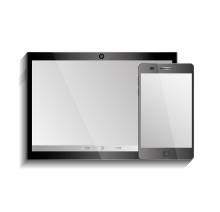 black tablet pad and smart phone on white background vector illustration