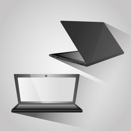 Modern open laptop back and side view device digital vector illustration.