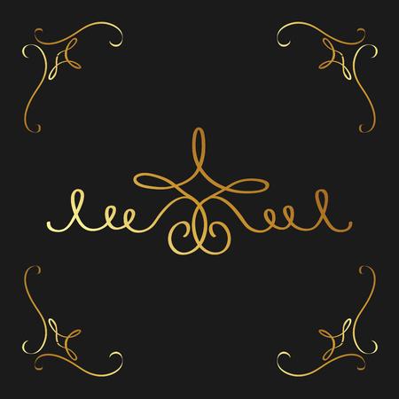 Golden calligraphic flourishes decorative ornament design element swirl vector illustration. Illustration