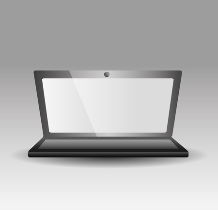 Opened laptop personal computer gadget technology vector illustration.