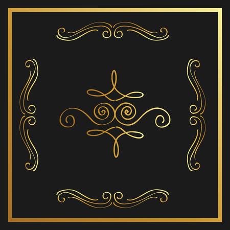 Gouden kalligrafisch bloeit decoratieve van het het elementenwerveling van het ornamentontwerp de vectorillustratie