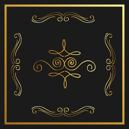 Golden calligraphic flourishes decorative ornament design element swirl vector illustration Illustration