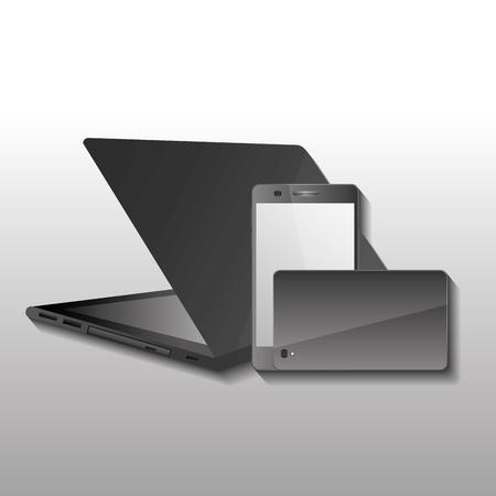 技術ガジェットのワイヤレス ・ ラップトップと携帯携帯電話の前面とベクトル図をバックアップします。