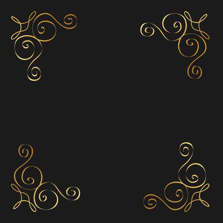ゴールデン カリグラフィが蔓延する装飾的な飾りデザイン要素旋回ベクトル図  イラスト・ベクター素材