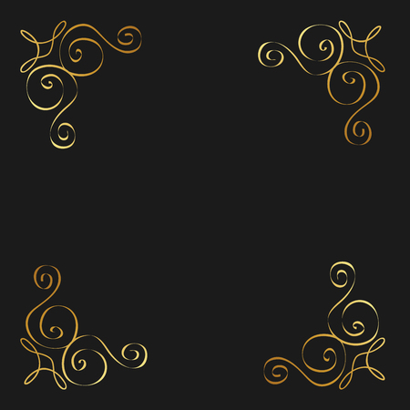 Golden calligraphic flourishes decorative ornament design element swirl vector illustration 向量圖像