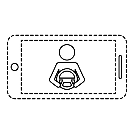 Smartphone gps navigation driver at steering wheel vector illustration Stock Vector - 89981152
