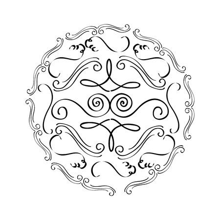 ラウンド ヴィンテージ装飾的なスクロール飾り要素ベクトル図