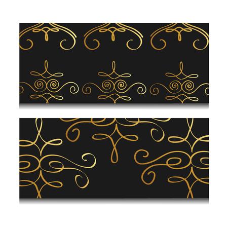 Illustration vectorielle orné de luxe décoratif doré bannière fond foncé Banque d'images - 89981431
