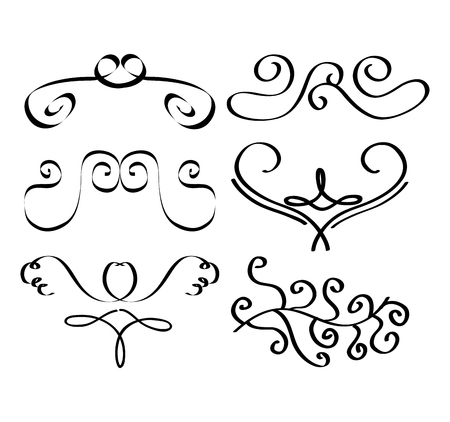 Set of decorative calligraphic elements filigree swirl dividers vector illustration Ilustração