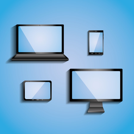 electronic devices with blank screens computer monitor smartphone tablet and laptop vector illustration Illustration