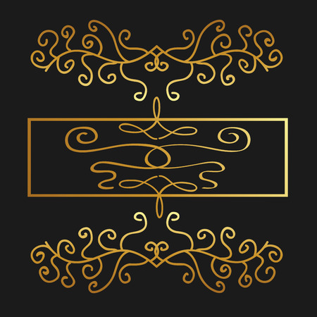 golden calligraphic flourishes decorative ornament design element swirl vector illustration