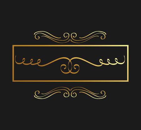 golden calligraphic flourishes decorative ornament design element swirl vector illustration