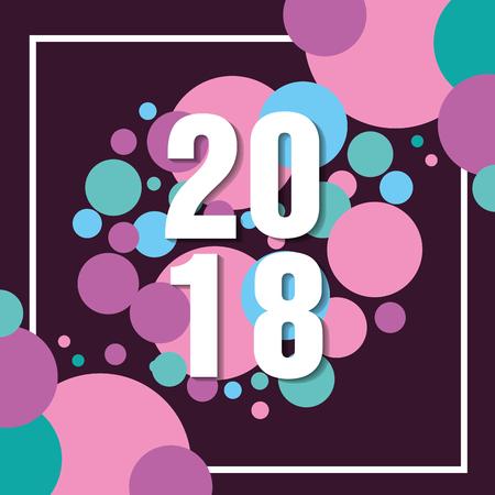 ベクトル図をご挨拶新年あけましておめでとうございます 2018 テキスト カード