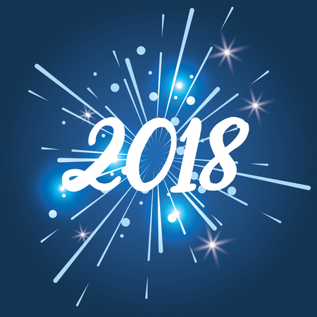 happy new year 2018 glitter lights blue background vector illustration