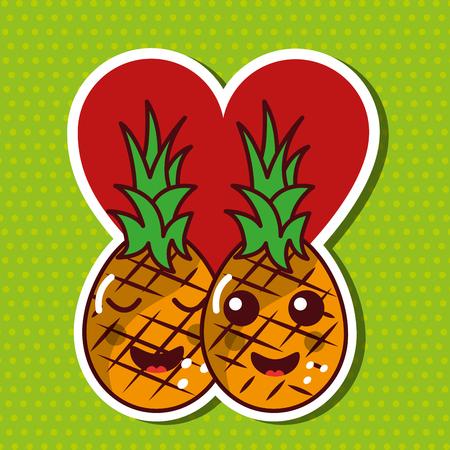 Ananas frutta cartone animato tamarillo Archivio Fotografico - 89976052