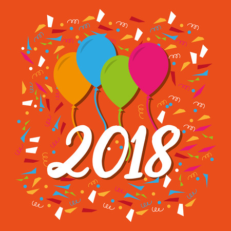 happy new year 2018 balloons streamers confetti color vector illustration