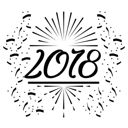 新年あけましておめでとうございます 2018年黒紙吹雪白背景ベクトル イラスト  イラスト・ベクター素材