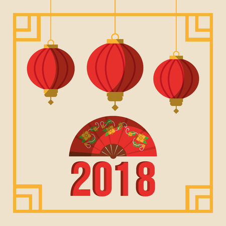 greeting postcard to chinese new year ornamental frame with lanterns vector illustration 版權商用圖片