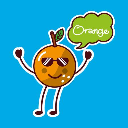 orange with sunglasses fruit kawaii cheerful character vector illustration