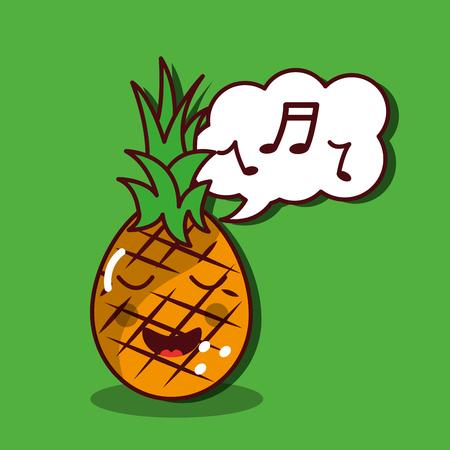 파인애플 노래 행복한 과일 카와이 쾌활한 캐릭터 벡터 일러스트 레이션 스톡 콘텐츠