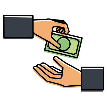 지폐 달러 돈 아이콘 벡터 일러스트 디자인을 손으로 인간 일러스트