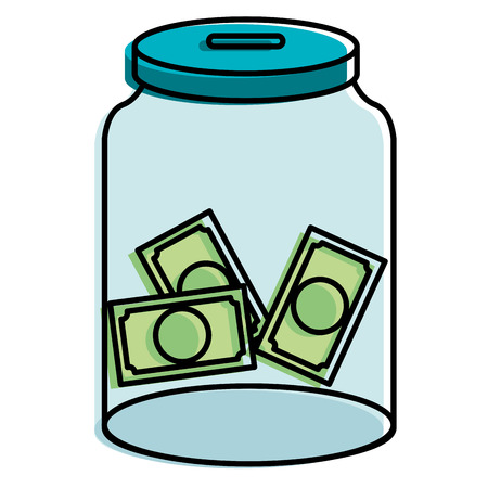 glass jar with bills money vector illustration design Illustration