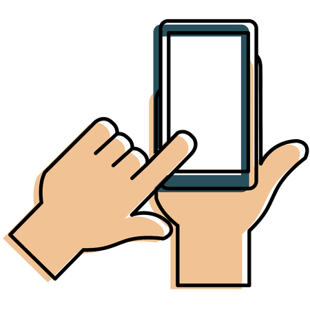 hands human with smartphone device vector illustration design