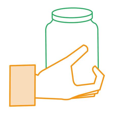 유리 항아리와 함께 손으로 고립 된 아이콘 벡터 일러스트 디자인 일러스트