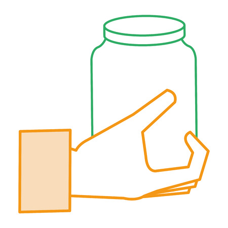 hand met ontwerp van de het pictogram vectorillustratie van de glaskruik het geïsoleerde Stock Illustratie