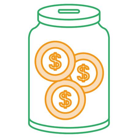 glass jar with coins money vector illustration design Illustration