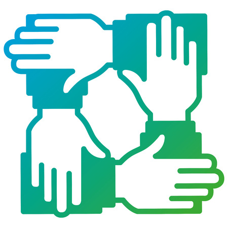 zakenlui handen teamwerk pictogram vector illustratie ontwerp Stock Illustratie