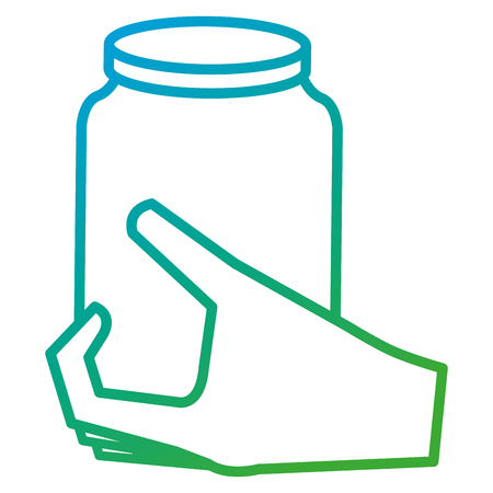 hand with glass jar isolated icon vector illustration design