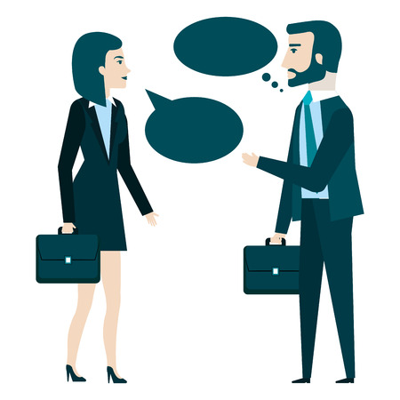 businesspeople with speech bubbles avatars characters vector illustration Illustration