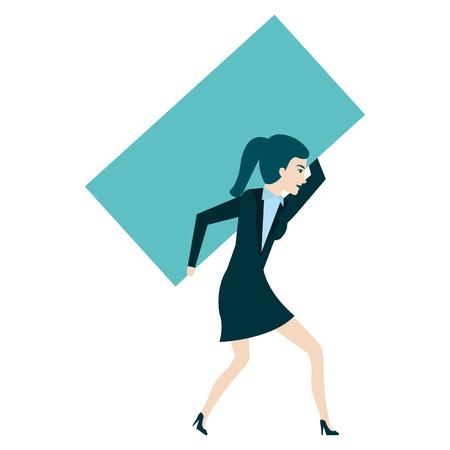 businesswoman lifting weight avatar character vector illustration design Ilustração