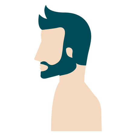 man profile shirtless avatar character vector illustration design