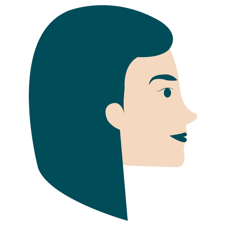 head profile woman avatar character vector illustration design