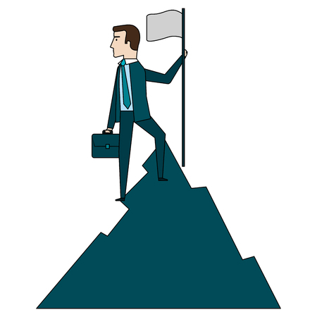businessman with flag in the mountain vector illustration design