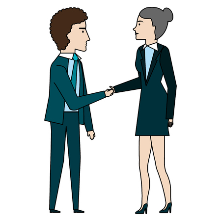 businesspeople talking avatars characters vector illustration design Illustration