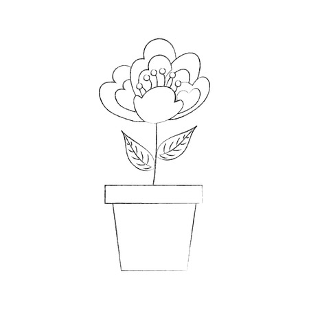 potted cherry flower nature delicate bloom image vector illustration