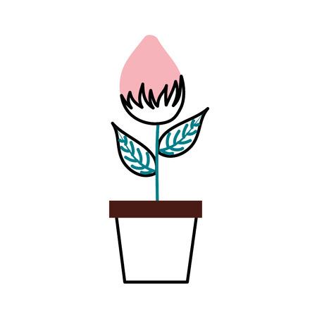 화분에 담긴 꽃 자연 전구 성장 공장 장식 벡터 일러스트 레이션 일러스트