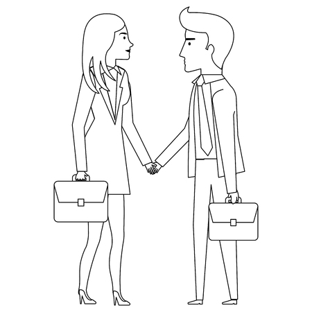 businesspeople with portfolio avatars characters vector illustration design