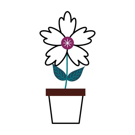 potted crocus flower natural decoration ornament vector illustration Иллюстрация