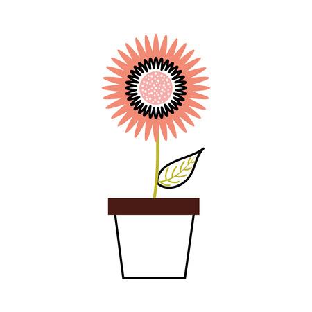 鉢植えダリア花の花飾りガーデンイメージベクトルイラスト  イラスト・ベクター素材